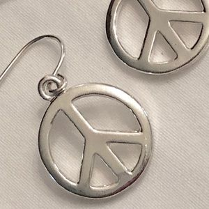 Silver-like Peace dangle earrings
